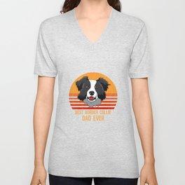 Best Border Collie Dad Ever Funny Shepard Dog Owner Unisex V-Neck