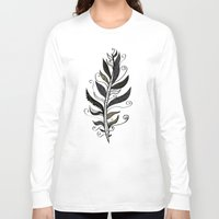 feather Long Sleeve T-shirts featuring FEATHER by Nika