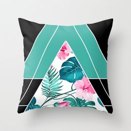 Tropical Triangle in Teal Throw Pillow
