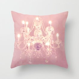 Paris Pink White Dreamy Shabby Chic Crystal Chandelier Wall Art Home Decor Gift Decor Throw Pillow