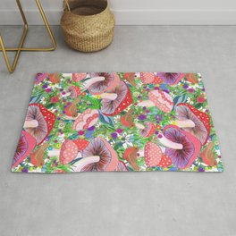 Swedish Toadstool Woodland Robins Floral Rug