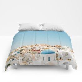 View of Santorini Island Greece Oia Comforters