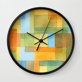City by a river -watercolour after Paul Klee Wall Clock