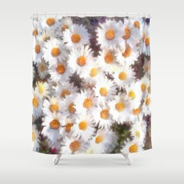 Spring Daisy Wildflower Watercolor Shower Curtain