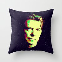 david bowie Throw Pillows featuring Bowie by victorygarlic