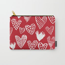 Herats red and white pattern minimal valentines day cute girly gifts hand drawn love patterns Carry-All Pouch