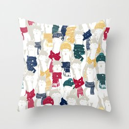 Happy llamas Christmas choir Throw Pillow