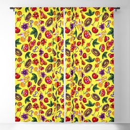 Watercolor summer pattern on yellow background Blackout Curtain