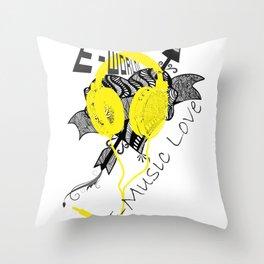 E-World (E-Music Love) Throw Pillow