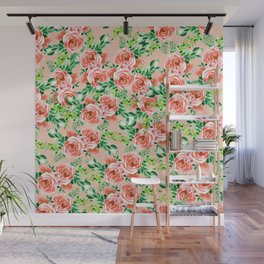 Botanical red green coral watercolor floral roses pattern Wall Mural