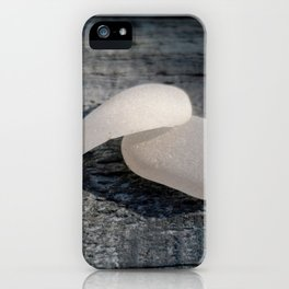 Two White Sea Glass Pieces on Grey Wood iPhone Case