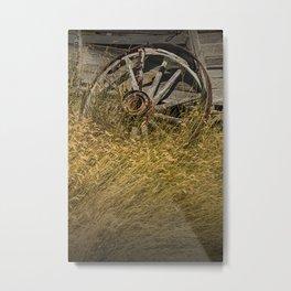 Broken Farm Wagon Wheel Metal Print