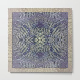 SYMMETRICAL PASTEL PURPLE BRACKEN FERN MANDALA Metal Print