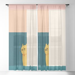 Little_Cat_Cute_Minimalism Sheer Curtain