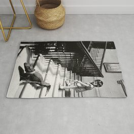 Little Girl with Pet Alligator on a leash black and white photograph / black and white photography Rug