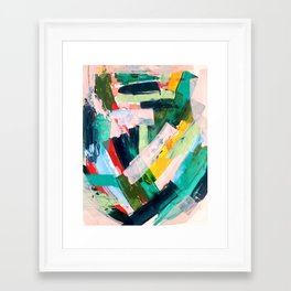 Livin' Easy - a bright abstract piece in blues, greens, yellow and red Framed Art Print