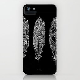 Patterned Plumes - White iPhone Case