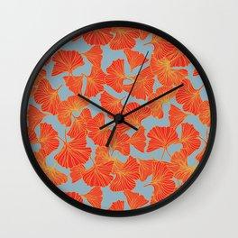 Tumbling Ginkgo Red Wall Clock