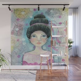 Lady in Pink Wall Mural
