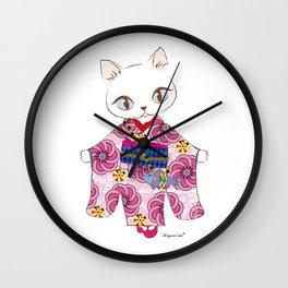Kimono cat Wall Clock