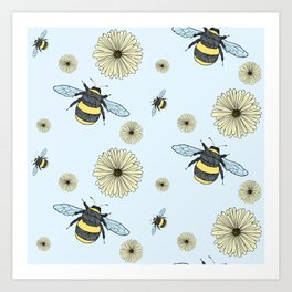 Bumble Bees and Flowers Art Print