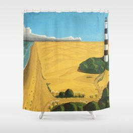 Candy-Striped Black and White Lighthouse, coastal beach landscape painting by Fernando de Gorocica Shower Curtain