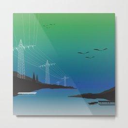 Electric Wire Lake Cyan Metal Print