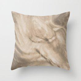 Pantone Hazelnut Flowing Pearlescent Haze, Opalescent Fluid Art Throw Pillow