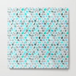 Blue & Gray Marble Geometric Hexagon Pattern Metal Print