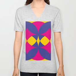 A lot of colored circles intersecting each others and forming eye shaped shapes. And a flower maybe. Unisex V-Neck