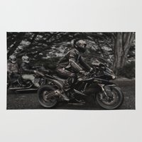 motorbike Area & Throw Rugs featuring Black Kawasaki Ninja Motorcycle/Motorbike by Sugar and Spice Photography