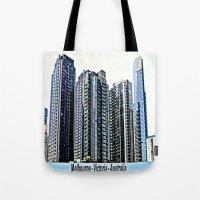 melbourne Tote Bags featuring Melbourne CBD by Chris' Landscape Images & Designs