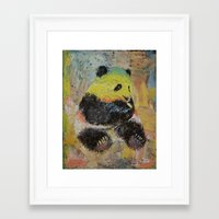 rasta Framed Art Prints featuring Rasta Panda by Michael Creese