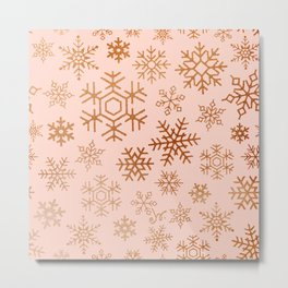 Snowflakes collection _ Blush Pink & Rust Copper  Metal Print
