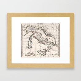 Vintage Map of Italy (1825) Framed Art Print
