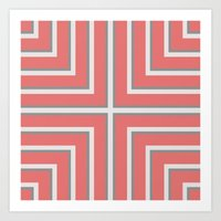 Coral and Silver Stripes Art Print