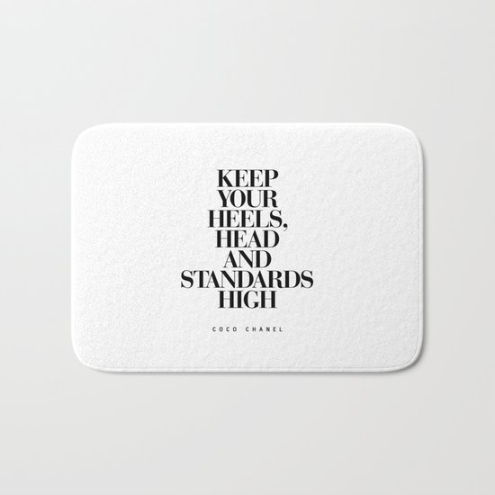 Keep Your Heels High Black and White Inspirational Typography Quote Grl Pwr Girls Bedroom Poster Bath Mat