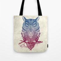 butterfly Tote Bags featuring Evening Warrior Owl by Rachel Caldwell