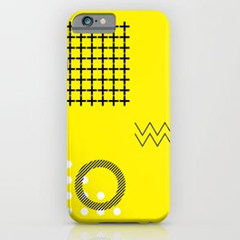 DOTS + LINES ON YELLOW iPhone Case