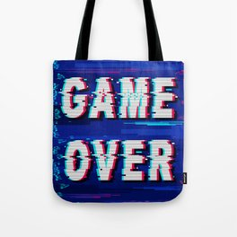 Game Over Glitch Text Distorted Tote Bag