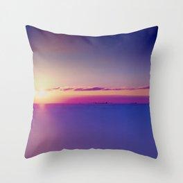 Sunset on the Atlantic Ocean Throw Pillow
