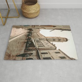 Rustic Cityscape | European Street Charming Dome Tower Muted Moody Fairytale City Photograph Rug