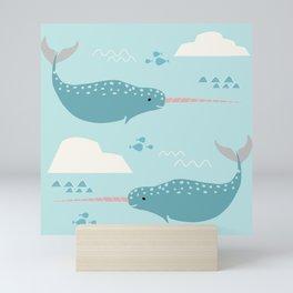 Narwhal blue Mini Art Print