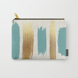 Brush Strokes (Teal/Gold) Carry-All Pouch