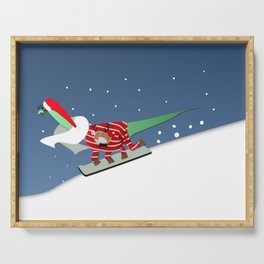 Dinosaur Snowboarding in Ugly Christmas Jumper Sweater  Serving Tray
