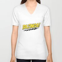 bazinga V-neck T-shirts featuring Bazinga Flash by Nxolab