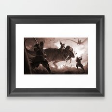 T. rex vs Samurai Framed Art Print