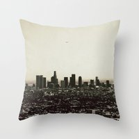los angeles Throw Pillows featuring Los Angeles by MojoPhoto59