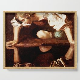 Michelangelo Merisi da Caravaggio, Narcissus at the Source, oil on canvas, 1597-99 Serving Tray