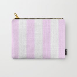 Vertical Stripes - White and Pastel Violet Carry-All Pouch